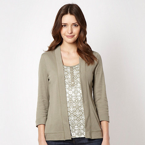 Maine New England - Khaki printed mock 2 in 1 top - size 12