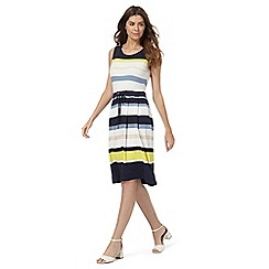 Maine New England - Navy striped print jersey dress
