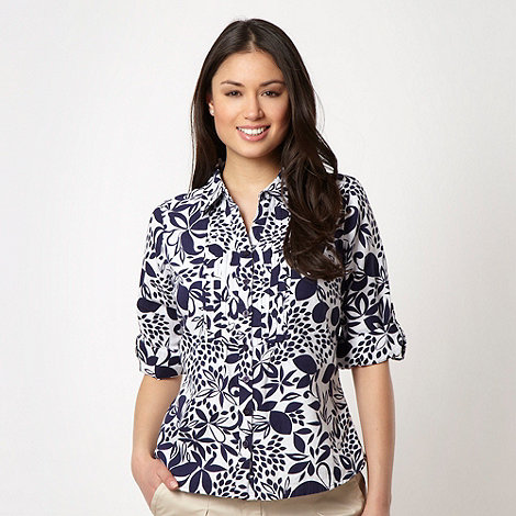 Maine New England - Navy printed three quarter shirt