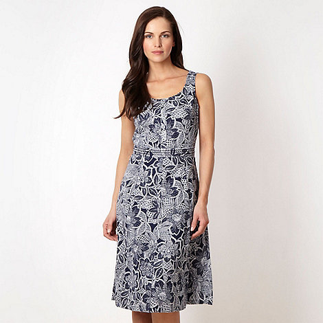 Maine New England - Navy floral printed day dress