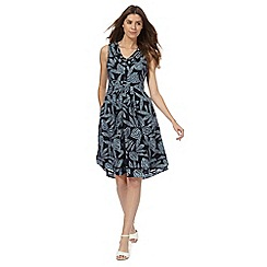 Maine New England - Navy leaf print pleated dress