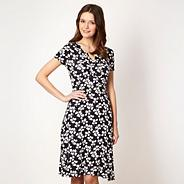 Navy spiral leaf jersey dress