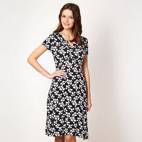 Maine New England - Navy spiral leaf jersey dress
