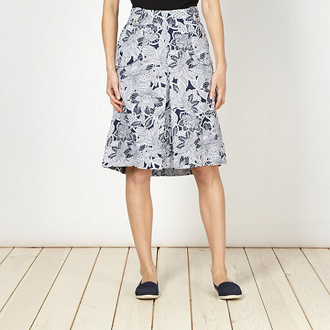 Maine New England - Navy floral woven skirt