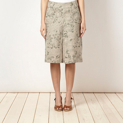 Maine New England - Khaki floral linen blend skirt