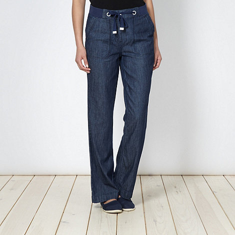 Maine New England - Blue chambray casual trousers