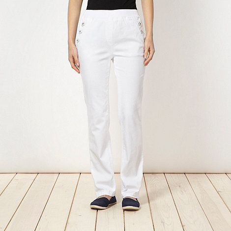 Maine New England - White plain buttoned jeggings