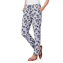 Maine New England - Blue floral print tapered trousers