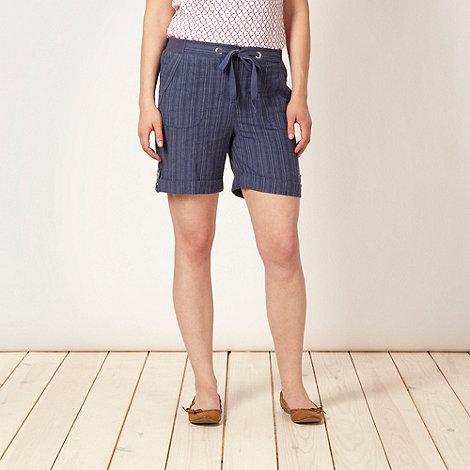 Maine New England - Blue striped linen blend shorts