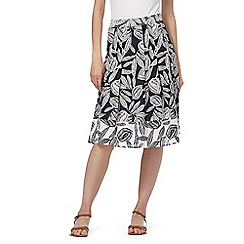 Maine New England - Navy and white leaf print skirt