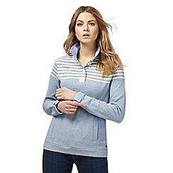 Maine New England - Light grey funnel neck striped print sweater