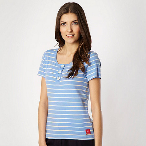Maine New England - Pale blue striped button t-shirt