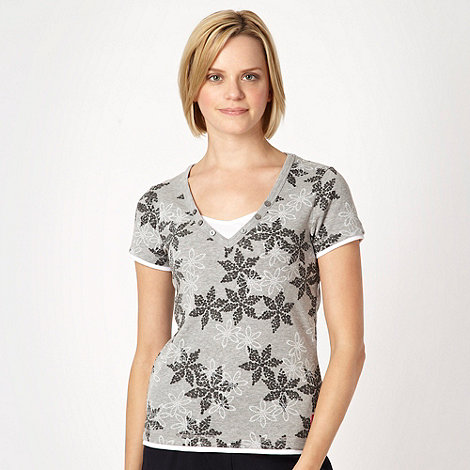 Maine New England - Grey dotted floral V neck t-shirt