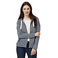 Maine New England - Navy striped print hooded zip jacket