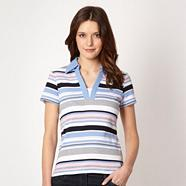 Blue multi striped collared t-shirt
