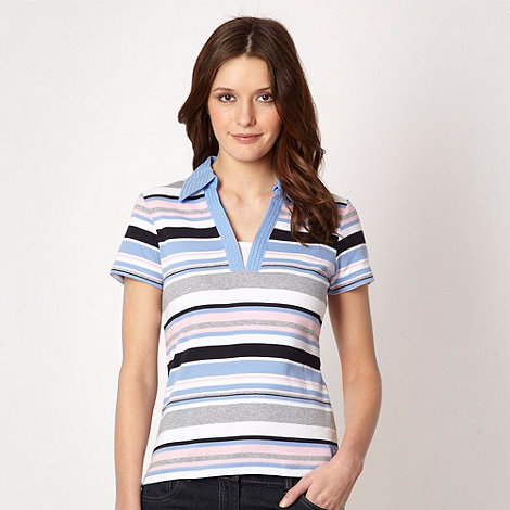 Maine New England - Blue multi striped collared t-shirt