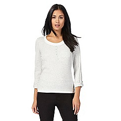 Maine New England - Light grey striped layered top