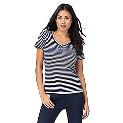 Maine New England - Navy striped floral print trim top
