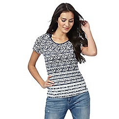 Maine New England - Navy floral stripe print top