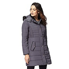 Maine New England - Grey faux fur hood trim padded coat