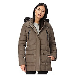 Maine New England - Taupe faux fur trim hooded jacket