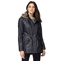 Maine New England - Navy faux fur hood lining waxed parka coat