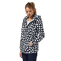 Maine New England - Navy leaf print shower resistant jacket
