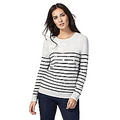 Maine New England - Grey star striped print jumper