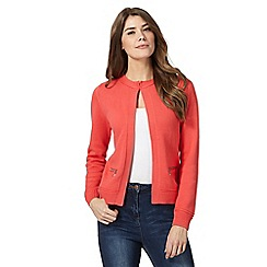 Maine New England - Coral knitted zip pocket cardigan