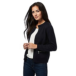 Maine New England - Navy knitted zip pocket cardigan