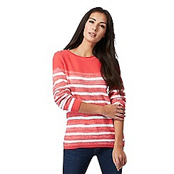 Maine New England - Coral striped chunky knit jumper