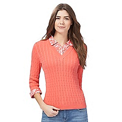 Maine New England - Peach cable knit 2-in-1 top