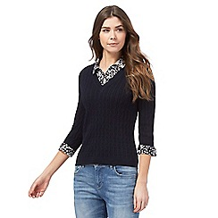 Maine New England - Navy cable knit 2-in-1 top