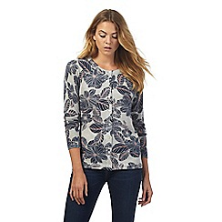 Maine New England - Grey floral print cardigan