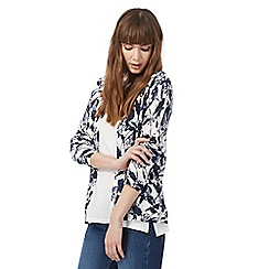Maine New England - Navy floral patterned cardigan