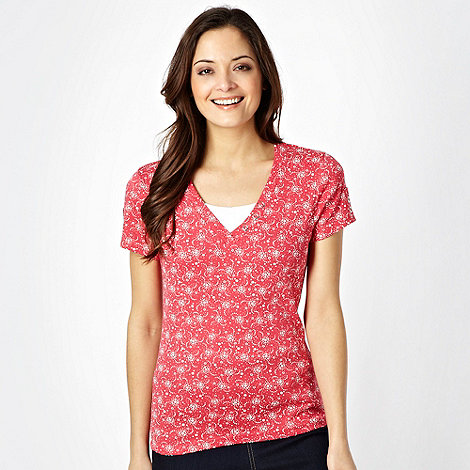 Maine New England - Dark pink spotted V neck t-shirt