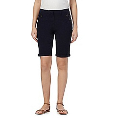 Maine New England - Navy asymmetric button shorts