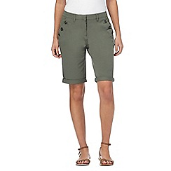 Maine New England - Khaki asymmetric button shorts