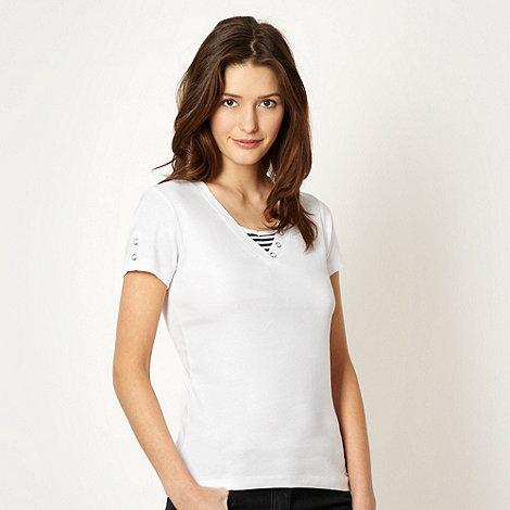 Maine New England - White mock dual V neck t-shirt
