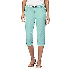 Maine New England - Green cropped belted chino trousers