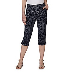 Maine New England - Navy flower print cropped chino trousers