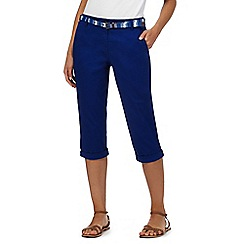 Maine New England - Blue cropped belted chino trousers