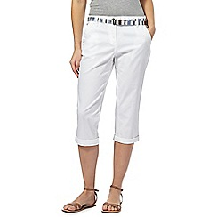 Maine New England - White cropped chino trousers with belt