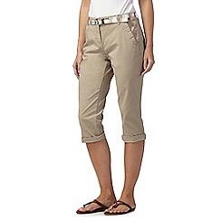 Maine New England - Natural cropped chino trousers with belt