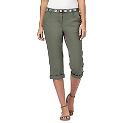 Maine New England - Khaki cropped chino trousers with belt