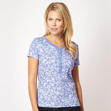 Maine New England - Blue floral button neck t-shirt