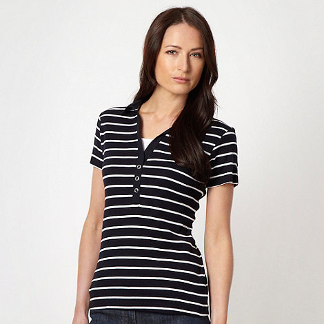 Maine New England - Navy striped woven collar t-shirt - size 22