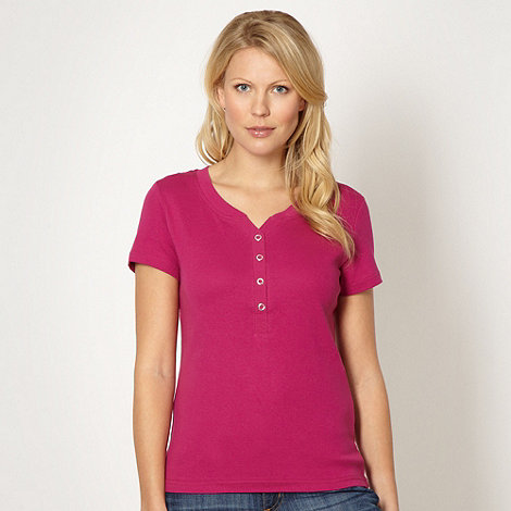 Maine New England - Pink eyelet detail v neck t-shirt