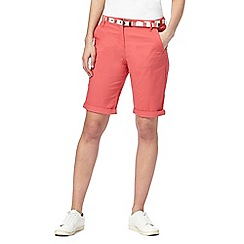 Maine New England - Dark peach belted chino shorts