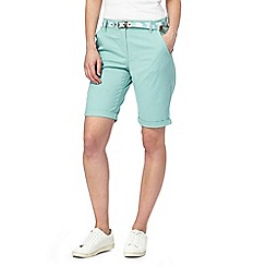 Maine New England - Pale green belted chino shorts